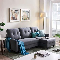 HONBAY L Shape Couch Bed Sofa Reversible Sleeper Sectional Corner Couch with Storage Chaise Righ ...