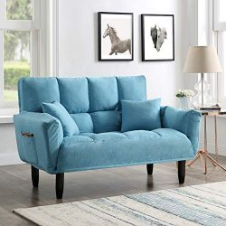 EiioX Modern Sofa with Pillows Convertible Upholstered Tufted Settee Bedroom Bench, Comfortable  ...