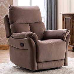 ANJ Manual Recliner, Living Room Reclining Chair Soft with Overstuffed Armrest and Back, Brown N ...