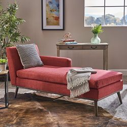 Christopher Knight Home Sophia Mid Century Modern Fabric Chaise Lounge, Red/Walnut