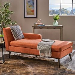 Christopher Knight Home Sophia Mid Century Modern Fabric Chaise Lounge, Muted Orange/Walnut