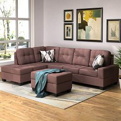 Romatlink Sofa Sectional Set, 3-Piece Modern Reversible Microfiber Couch Linen-Like Left or Righ ...
