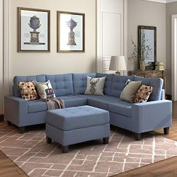 MOOSENG, 3 Sectional Set Couch Linen-Like Left or Right Hand with Ottoman, 4 Pieces for 5 Seater ...