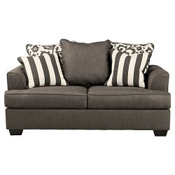 Signature Design by Ashley – Levon Classic Loveseat, Charcoal Gray