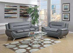 GTU Furniture Contemporary PU Leather Sofa & Loveseat Set, 2 Piece Sofa Set (Grey)