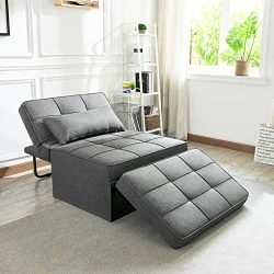 Vonanda Sofa Bed, Folding Single Sleeper Chair Modern Upholstered Convertible Couch Lounger Bed  ...