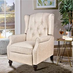 Wingback Chair Recliner, Accent Chairs for Living Room Bedroom, Massage and Vibration Heat, Tuft ...