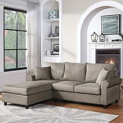 MIERES Convertible Sectional Sofa Modern Linen Fabric L-Shape Couch for Small Space Grey, Gray