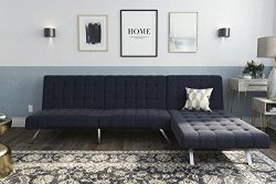 DHP Emily Sectional Futon Sofa Bed with Convertible Chaise Lounger Set, Navy Linen