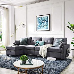 HONBAY Reversible Sectional Sofa Couch for Living Room L-Shape Sofa Couch 4-seat Sofas Sectional ...