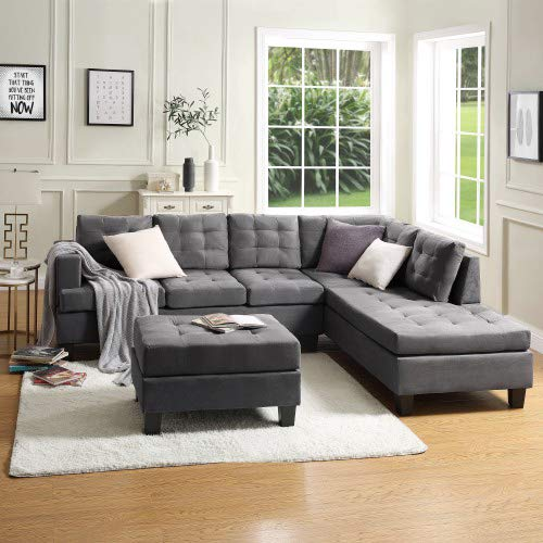 MOOSENG, 3-Piece Sectional Furniture Set with Chaise Lounge and Storage Ottoman L Shape Couch So ...
