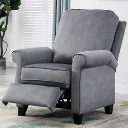ANJ Roll Arm Push Recliner Pushback Chair, Slate Gray