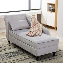 Chaise Lounge Storage Ottoman Upholstered Sofa Couch for Living Room Bedroom Gray