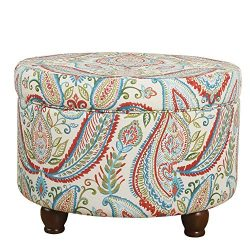 HomePop Upholstered Round Storage Ottoman with LId, Bold Paisley (Renewed)