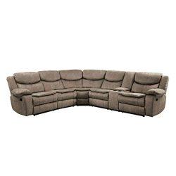 Homelegance 118″ Manual Reclining Sectional Sofa, Brown
