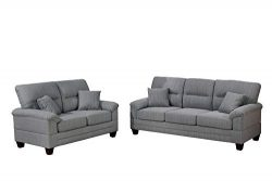 Bobkona 2-Pcs Sofa & Loveseat, Grey