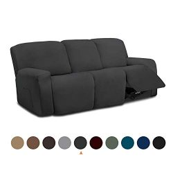 Easy-Going 8 Pieces Microfiber Stretch Sectional Recliner Sofa Slipcover Soft Fitted Fleece 3 Se ...