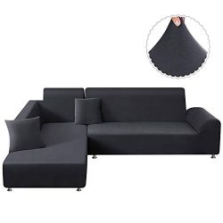 TAOCOCO Sectional Couch Covers 2pcs L Shape Sofa Covers Polyester Fabric Stretch Furniture Cover ...