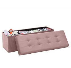 Ornavo Home Foldable Tufted Velvet Large Storage Ottoman Bench Foot Rest Stool/Seat – 15&# ...