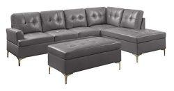 Homelegance Barrington PU Leather Chaise Sofa and Ottoman Set, Gray
