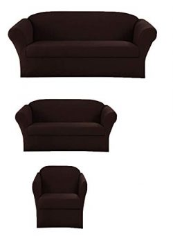 Elegant Home Stretch to Fit 3 Piece or 2 Piece or 1 Piece for Sofa Loveseat & Arm Chair Slip ...