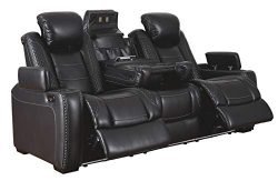Signature Design by Ashley Party Time Power Reclining Sofa with Adjustable Headrest Midnight