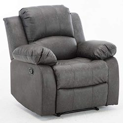 Bonzy Home Air Leather Recliner Chair Overstuffed Heavy Duty Recliner – Faux Leather Home  ...