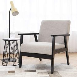 Art Leon Mid Century Modern Fabric Upholstered Accent Chair with Solid Wood Frame Low Lounge Arm ...