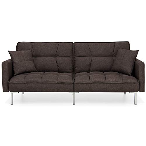 Best Choice Products Convertible Linen Splitback Futon Sofa Couch, Living Room Furniture w/Tufte ...