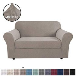 H.VERSAILTEX High Stretch 2-Piece Loveseat Furniture Cover/Slipcover for 2 Cushion Couch Fit Lov ...