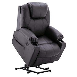 Mcombo Electric Power Lift Massage Sofa Recliner Heated Chair Lounge w/Remote Control USB Chargi ...