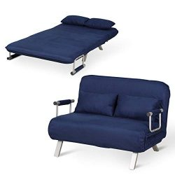 HOMCOM 2-Seater Sofa Chair Folding 5 Position Convertible Sleeper Bed Steel HomCom Small Sofa Co ...