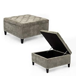 Adeco Large Square Footstool Fabric Ottoman with Storage Footstool, 32x32x19, Light Gray