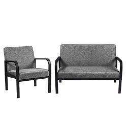 IRONCK Mid-Century Retro Modern Living Room Sofa Set with Loveseat and Seating Sofa Chair, Couch ...