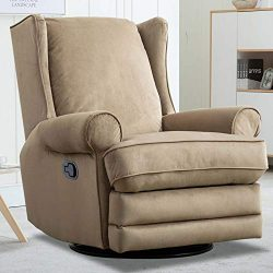 CANMOV Swivel Rocker Recliner Chair with Roll Arm and Overstuffed Back, Beige
