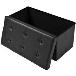KTN Storage Ottoman Bench Folding Toy Chest, 30″ Faux Leather Footrest Storage Organizer B ...