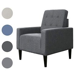 Top Space Accent Chair Arm Chairs for Living Room Bedroom Upholstered Office Modern Grey Single  ...