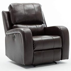 Bonzy Home Power Recliner Chair Air Leather – Overstuffed Electric Faux Leather Recliner w ...