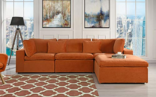 Classic Large Velvet Sectional Sofa, L Shape Couch with Wide Chaise (Rust)
