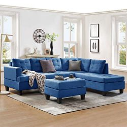 Merax Sofa 3-Piece Sectional Sofa with Chaise and Ottoman Living Room Furniture,Grey (Blue)