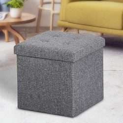 ASLIFE Multifunctional and Folding Storage Ottoman Top Linen Fabric Footrest Coffee Table, Toy B ...
