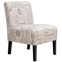 Yaheetech Armless Accent Chair Letter Print Fabric Living Room Chairs Contemporary Single Sofa w ...
