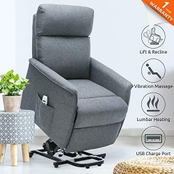 ULTIFIT Electric Lift Chair for Elderly Power Lift Chairs with Heat and Massage Infinite Positio ...