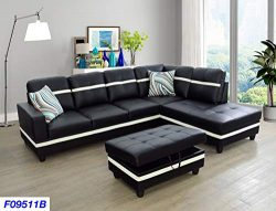 Lifestyle Furniture Right Facing 3PC Sectional Sofa Set,Faux Leather,Black(LSF09511B)