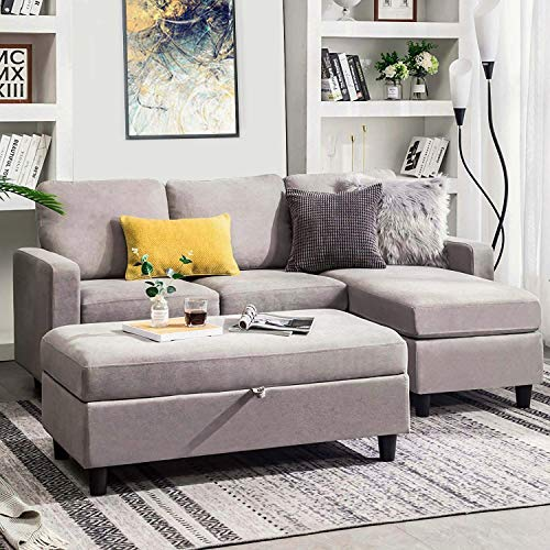 HONBAY Grey Sectional Couch with Ottoman, Convertible L Shaped Chaise Sofa Sleeper Set Sectional ...