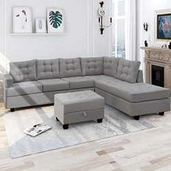 Harper & Bright Designs 3 Piece Sectional Sofa with Chaise Lounge Storage Ottoman Living Roo ...
