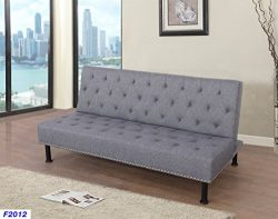 Beverly Furniture Futon Convertible Sofa, Grey