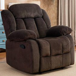 CANMOV Oversize Design Recliner Chair, Manual Reclining Sofa, Contemporary Living Room Chair, Brown