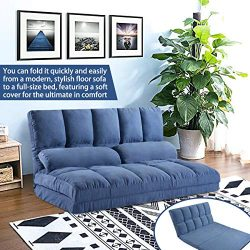 Merax Floor Sofa Bed, Foldable Sleeper Sofa Couch, Adjustable Fabric Lazy Sofa Folding Sofa 5-Po ...