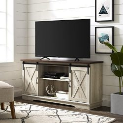 WE Furniture TV Stand, 58″, White Oak